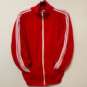 Vintage 3 Stripe Red & White Zip Up Warm Up Jacket